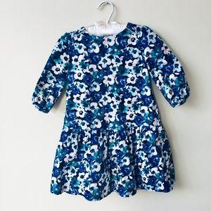 Other - Blue Floral Print Light Corduroy Dress